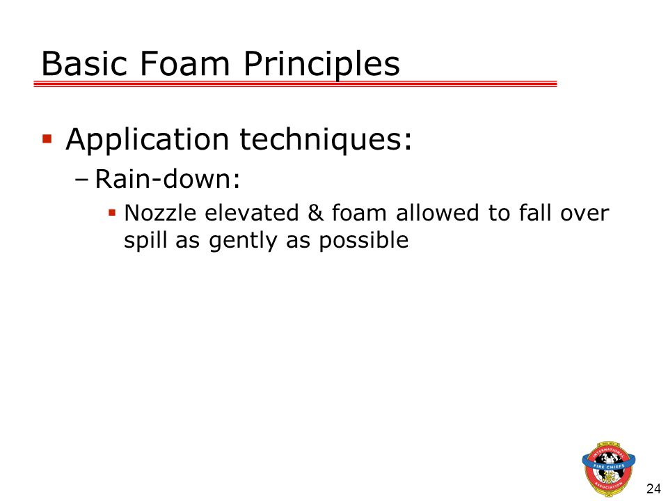 Basic Foam Principles Application techniques: Rain-down: