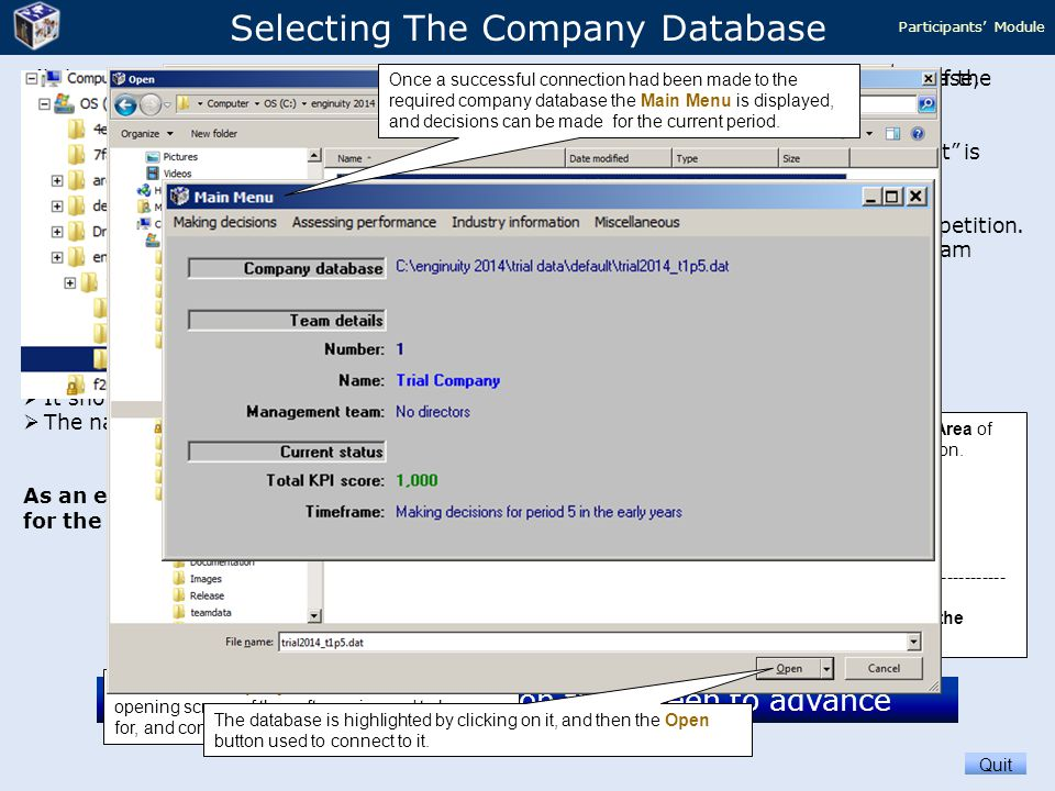 Selecting The Company Database