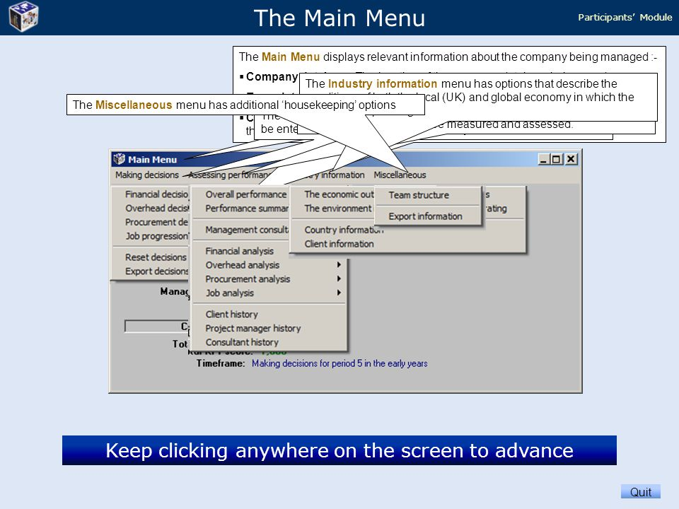 Keep clicking anywhere on the screen to advance