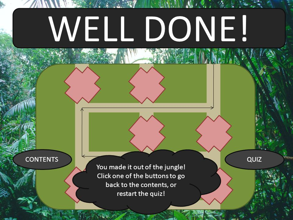 WELL DONE! CONTENTS. You made it out of the jungle! Click one of the buttons to go back to the contents, or restart the quiz!