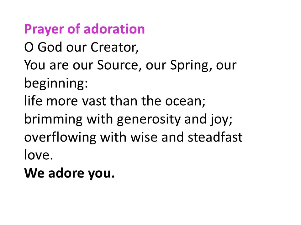 Prayer of adoration O God our Creator, You are our Source, our Spring, our beginning: life more vast than the ocean;