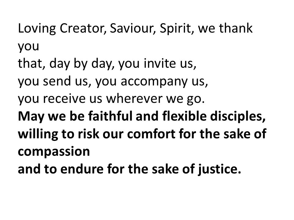 Loving Creator, Saviour, Spirit, we thank you