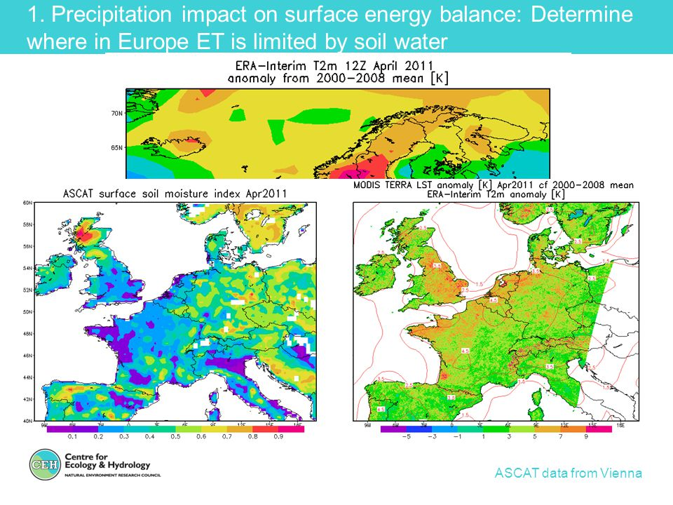 1. Precipitation impact on surface energy balance: Determine where in Europe ET is limited by soil water