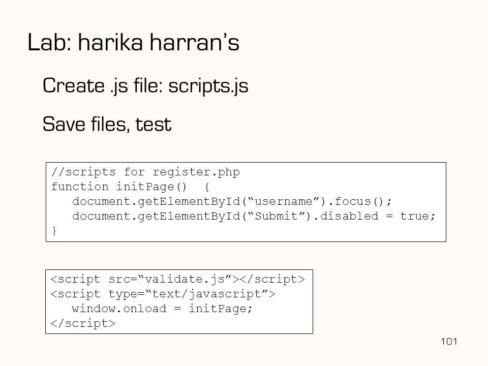 Lab: harika harran's Create .js file: scripts.js Save files, test