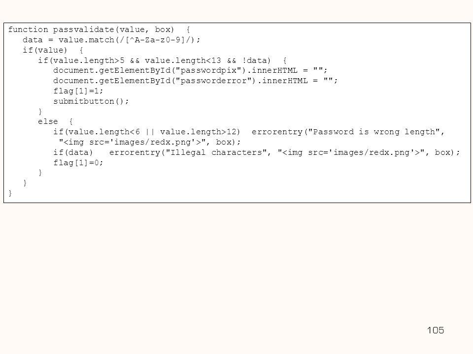Username: 105 function passvalidate(value, box) {