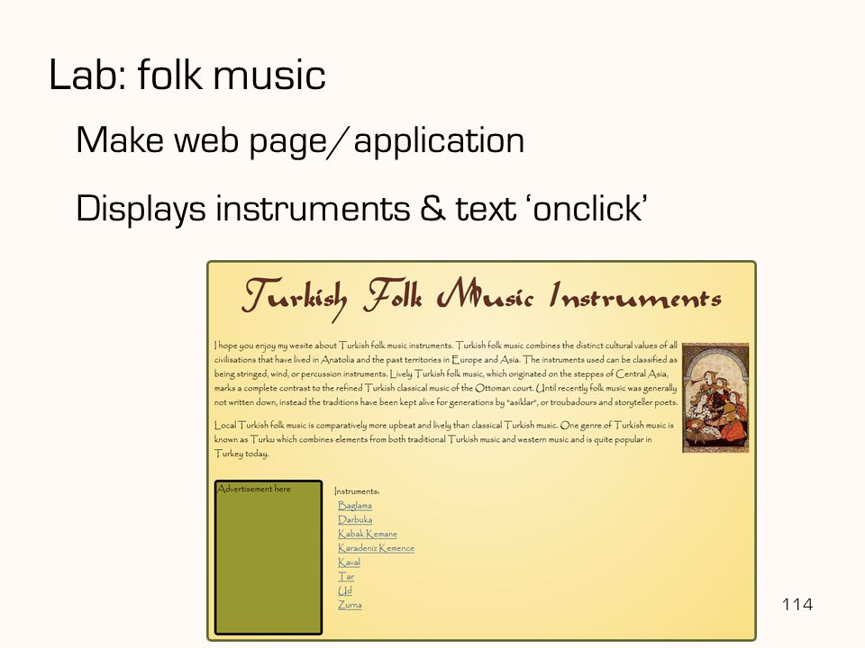 Lab: folk music Make web page/application