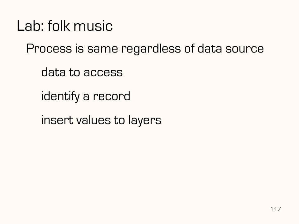Lab: folk music Process is same regardless of data source