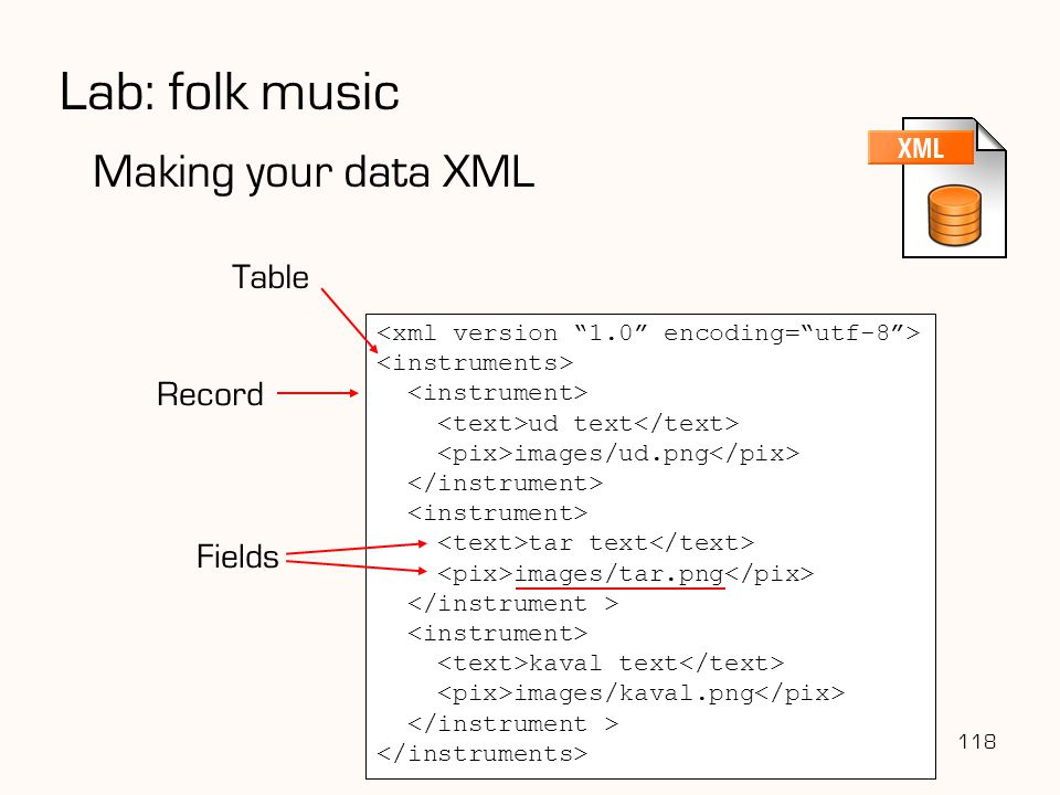 Lab: folk music Making your data XML Table Record Fields