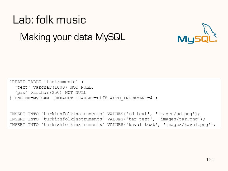 Lab: folk music Making your data MySQL CREATE TABLE `instruments` (