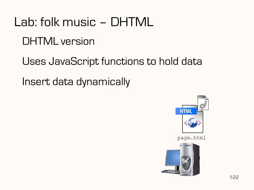 Lab: folk music – DHTML DHTML version