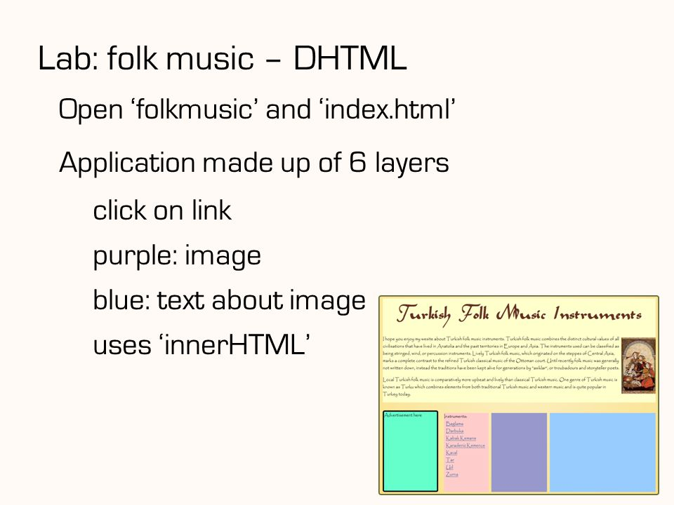 Lab: folk music – DHTML Open 'folkmusic' and 'index.html'