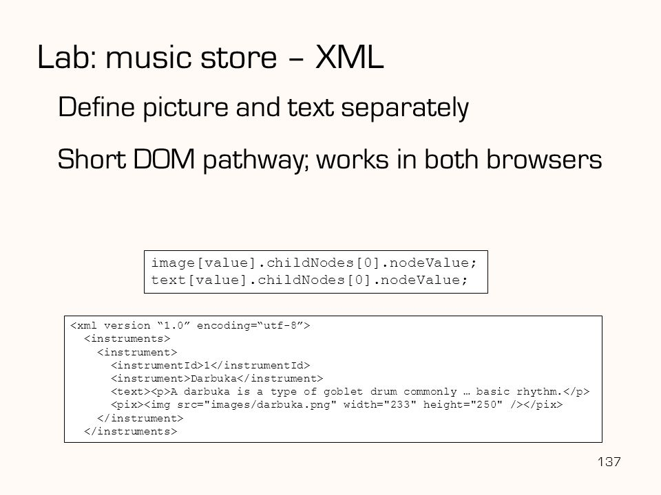 Lab: music store – XML Define picture and text separately