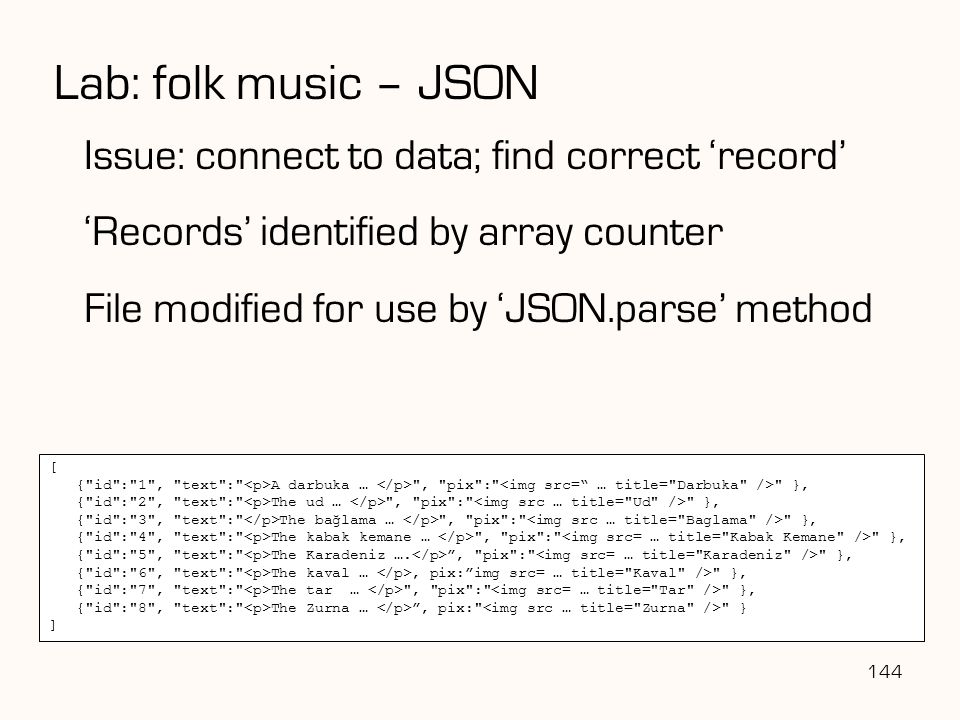 Lab: folk music – JSON Issue: connect to data; find correct 'record'