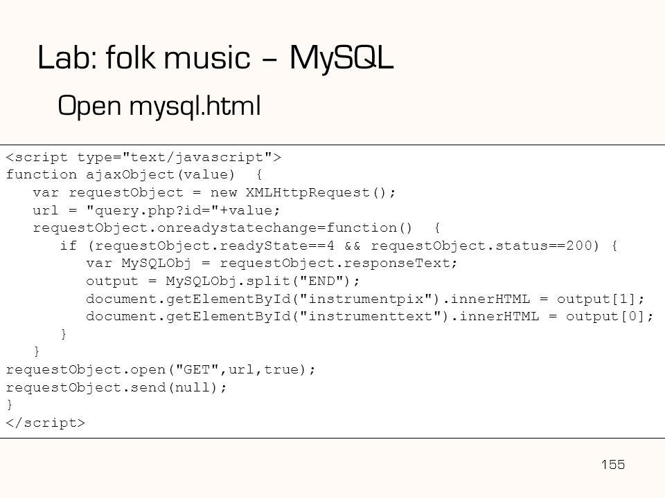 Lab: folk music – MySQL Open mysql.html
