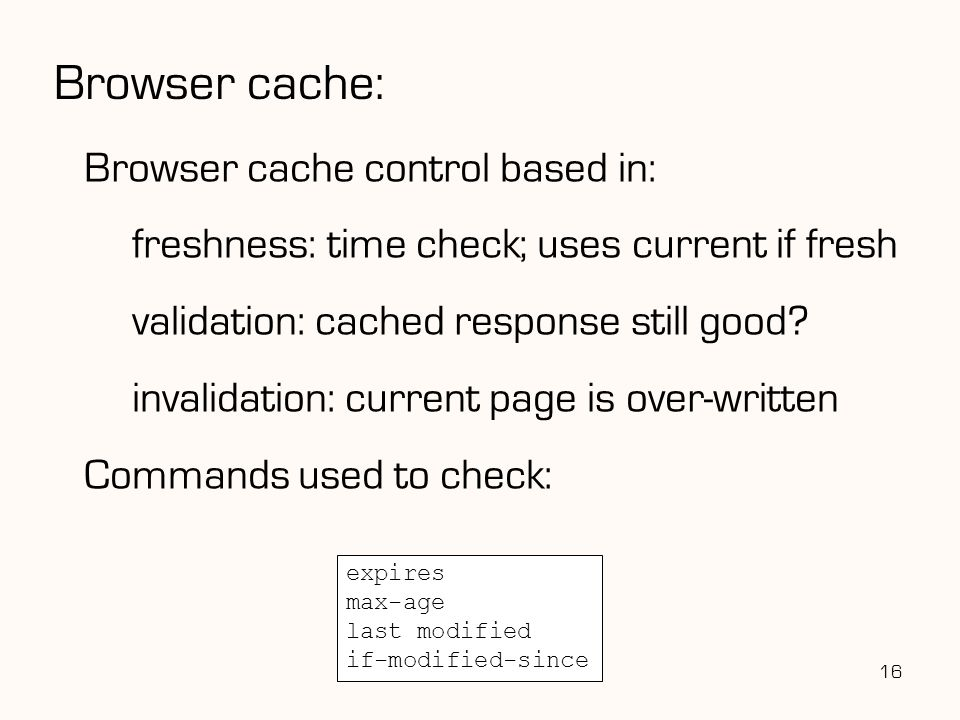 Browser cache: Browser cache control based in: