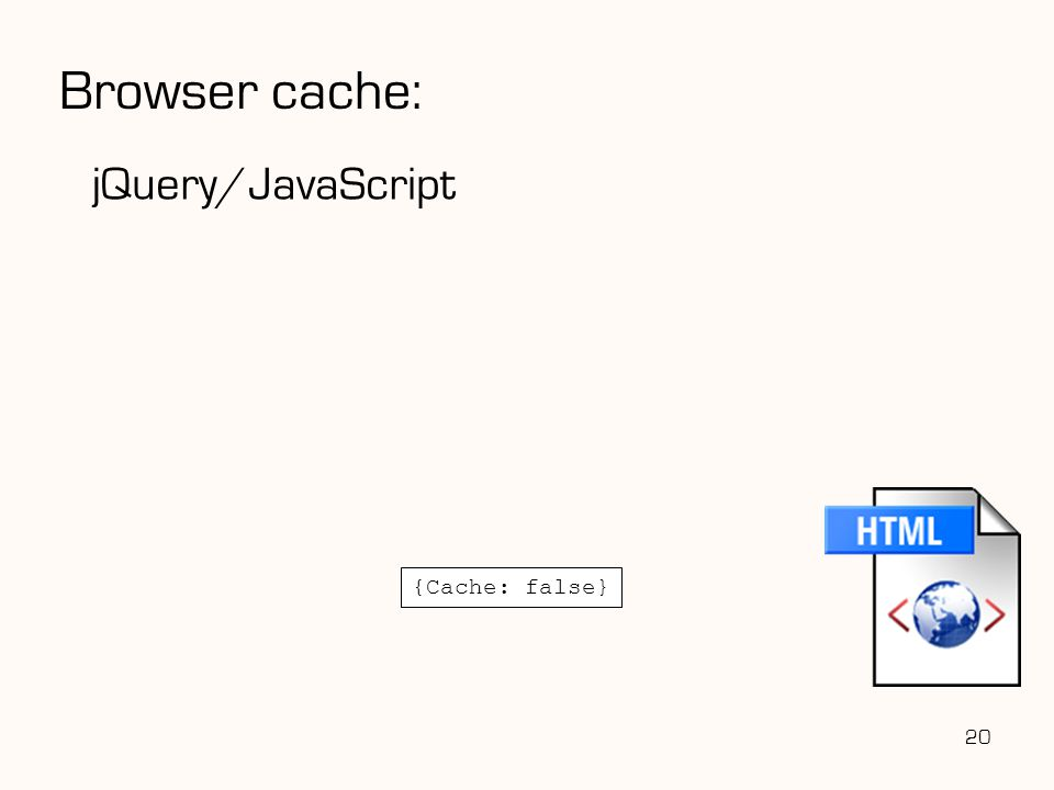 Browser cache: jQuery/JavaScript {Cache: false} 20 20