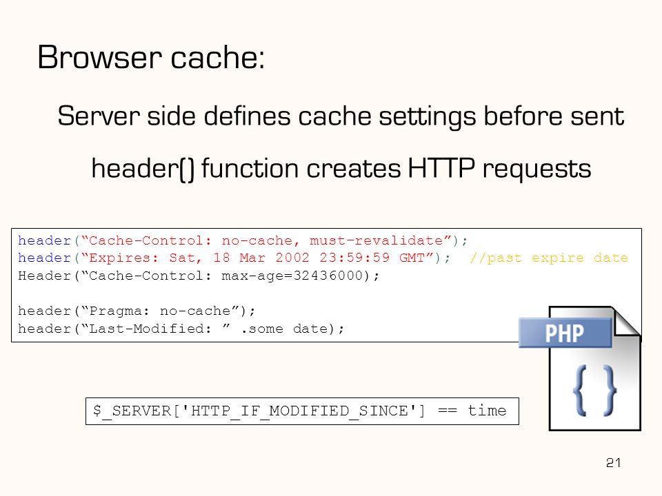 Browser cache: Server side defines cache settings before sent