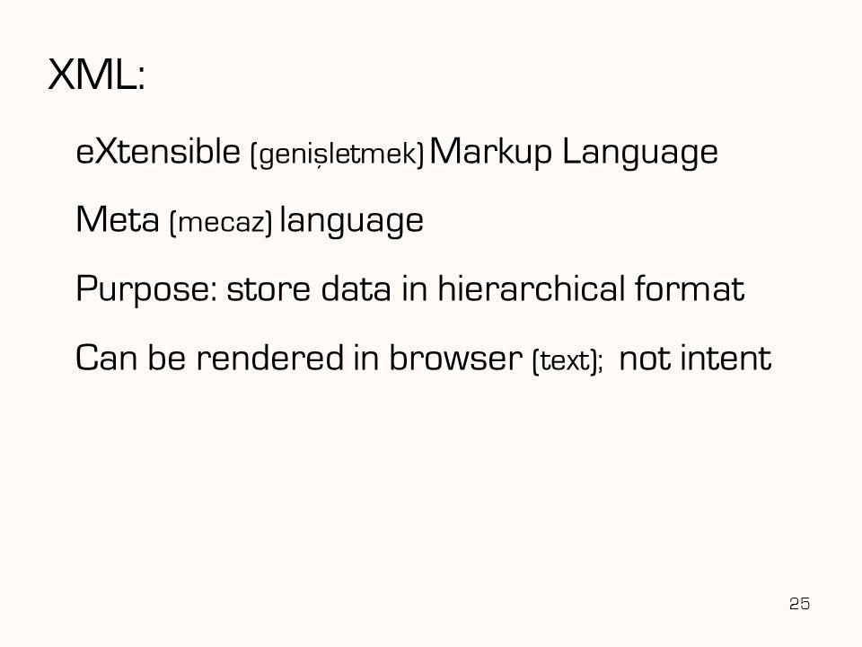 XML: eXtensible (genisletmek) Markup Language Meta (mecaz) language