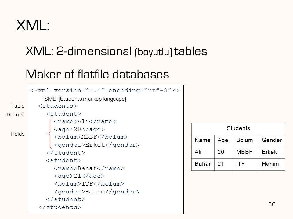 XML: XML: 2-dimensional (boyutlu) tables Maker of flatfile databases