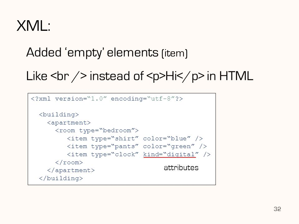XML: Added 'empty' elements (item)