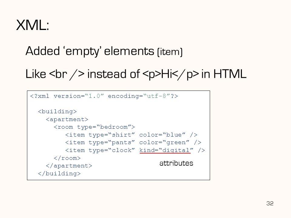 XML: Added 'empty' elements (item)