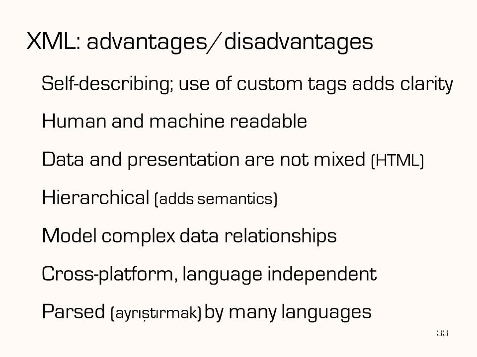 XML: advantages/disadvantages