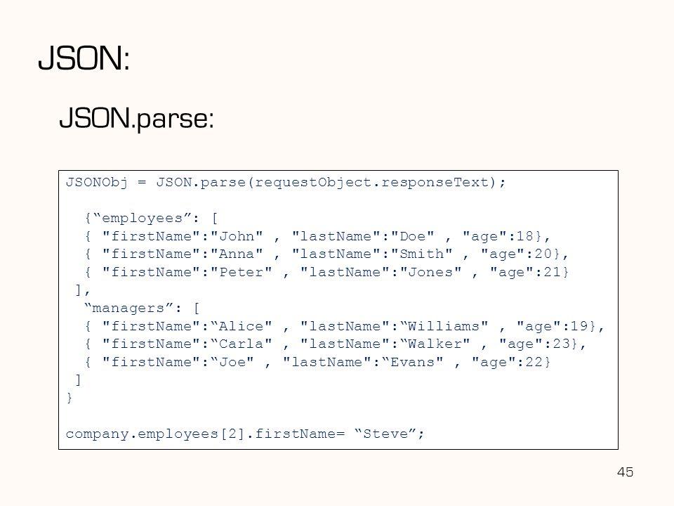 JSON: JSON.parse: JSONObj = JSON.parse(requestObject.responseText);