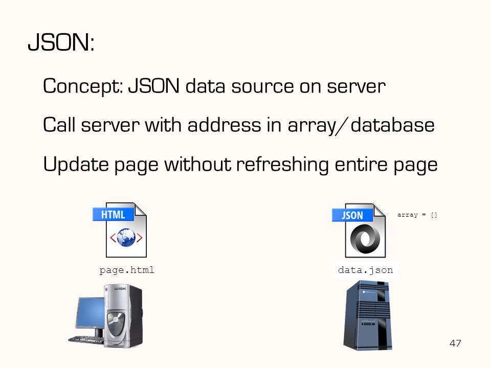 JSON: Concept: JSON data source on server