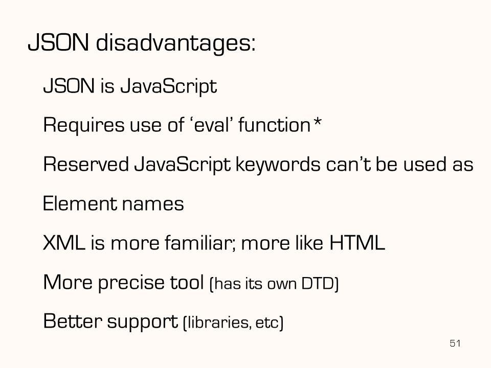 JSON disadvantages: JSON is JavaScript