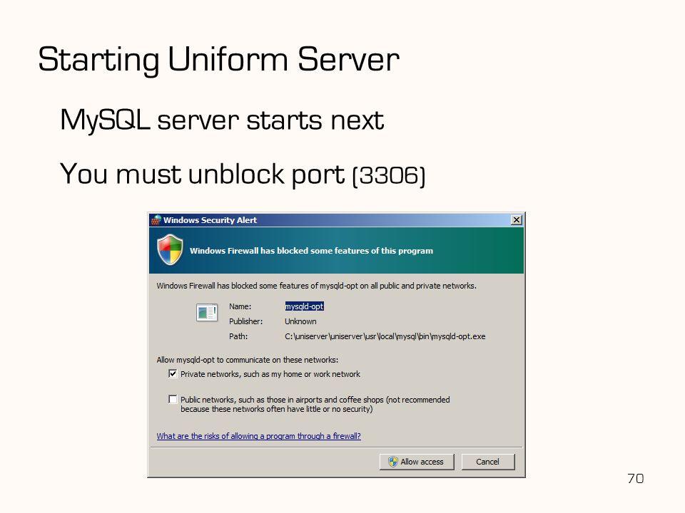 Starting Uniform Server