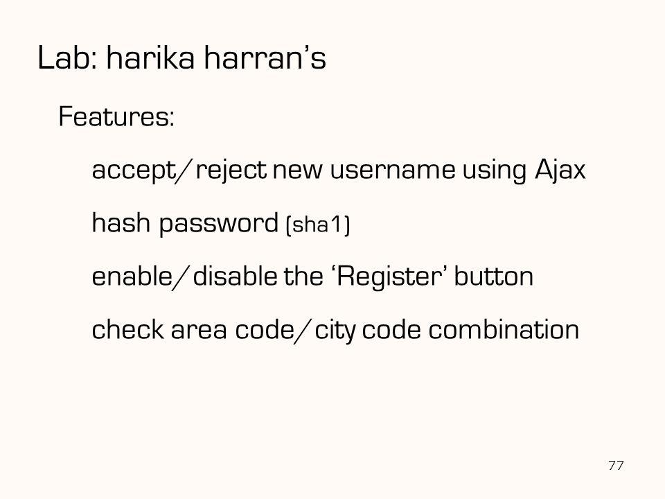Lab: harika harran's Features: accept/reject new username using Ajax