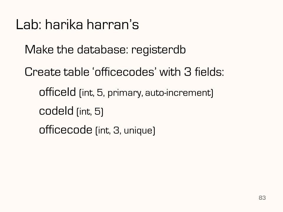 Lab: harika harran's Make the database: registerdb