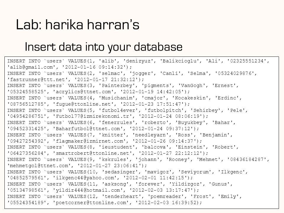 Lab: harika harran's Insert data into your database 84