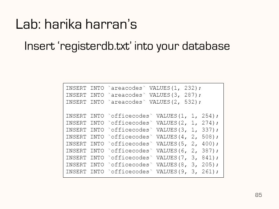 Lab: harika harran's Insert 'registerdb.txt' into your database
