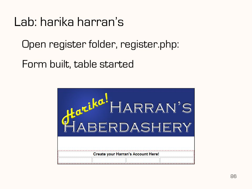 Lab: harika harran's Open register folder, register.php:
