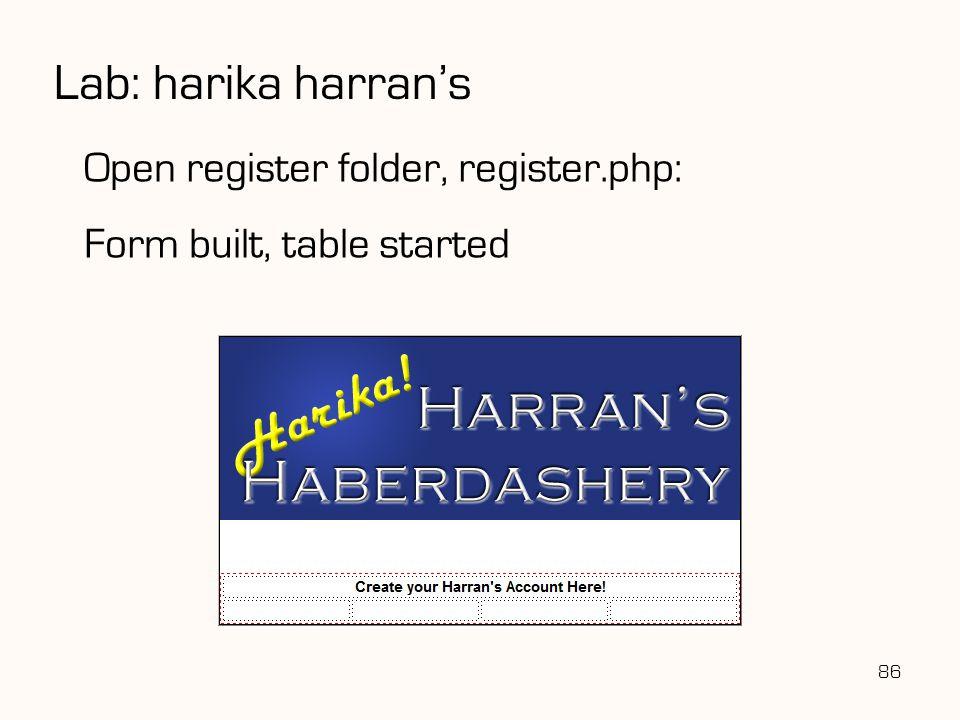 Lab: harika harran's Open register folder, register.php: