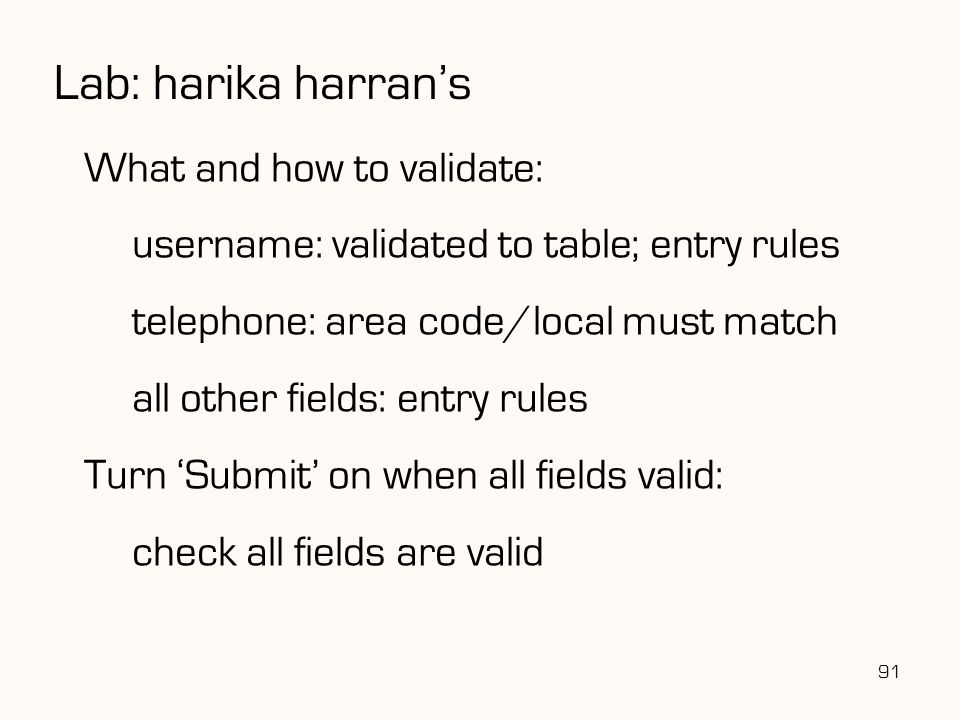 Lab: harika harran's What and how to validate: