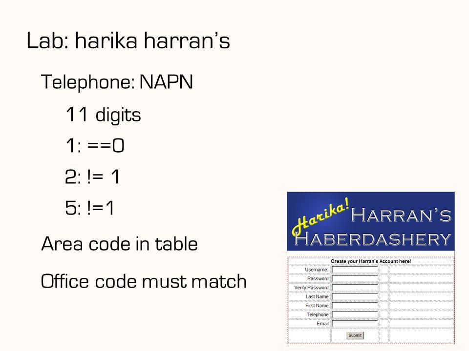 Lab: harika harran's Telephone: NAPN 11 digits 1: ==0 2: != 1 5: !=1