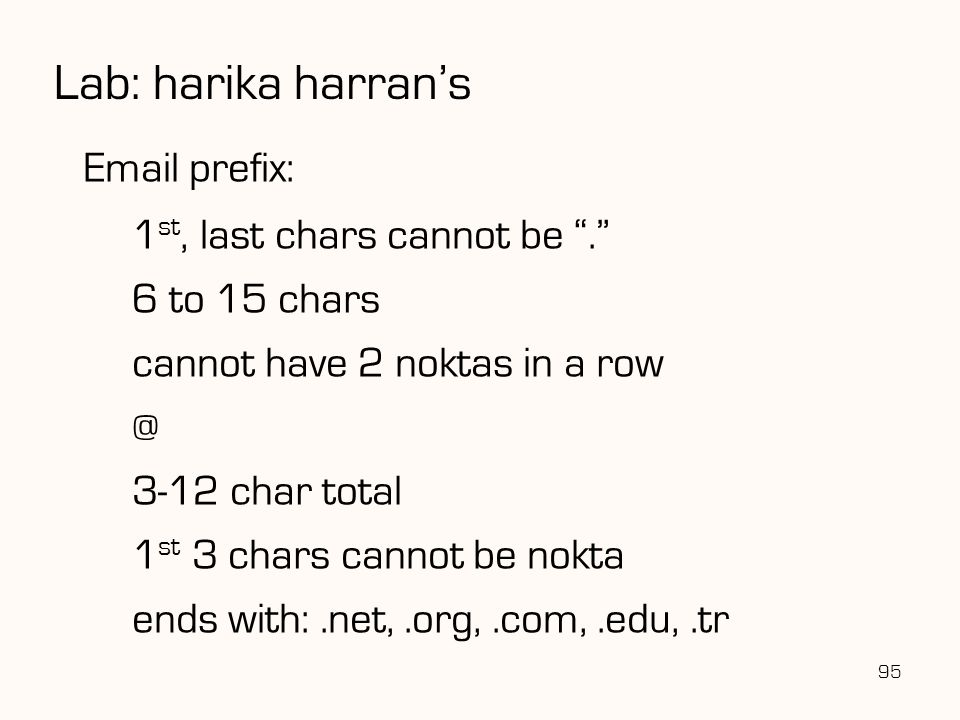 Lab: harika harran's Email prefix: 1st, last chars cannot be .