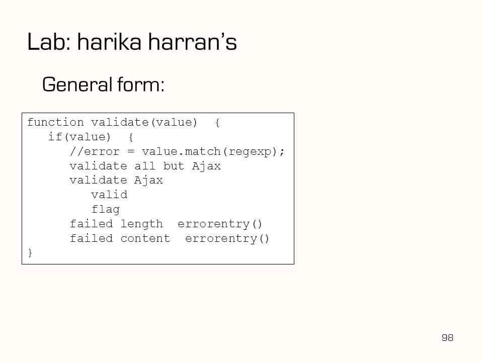 Lab: harika harran's General form: function validate(value) {