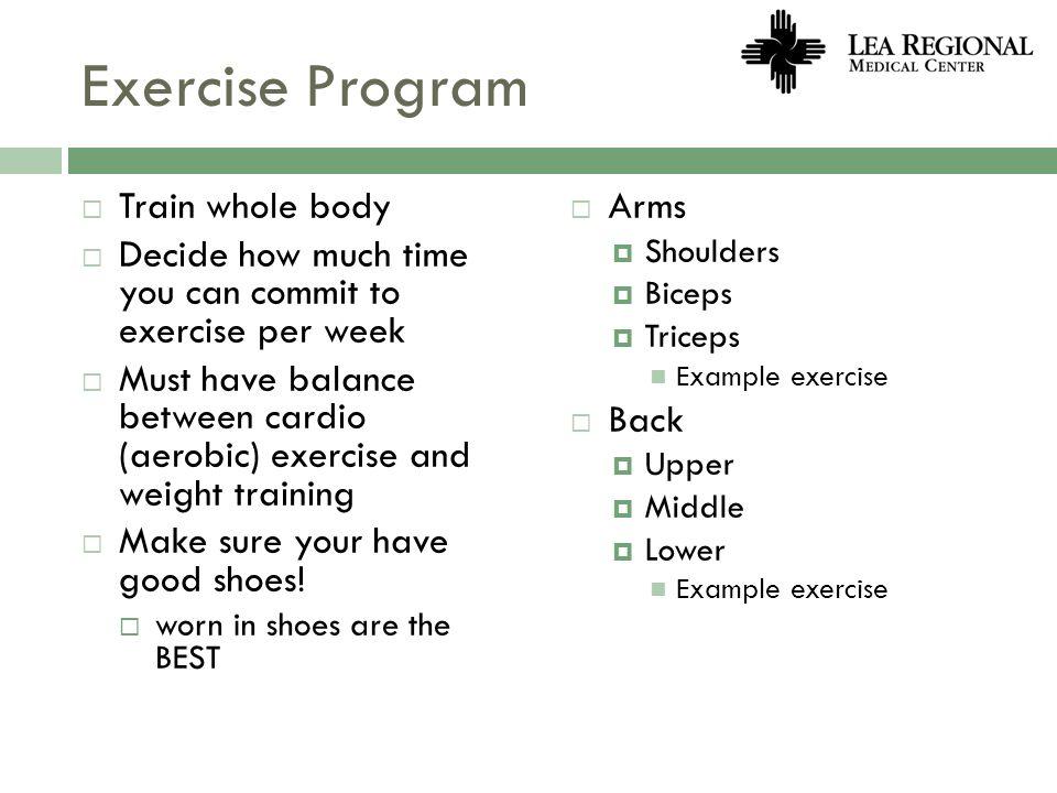 Exercise Program Train whole body
