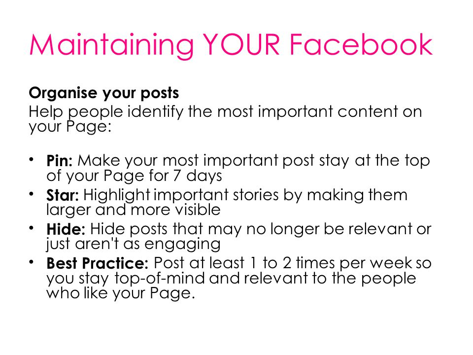 Maintaining YOUR Facebook