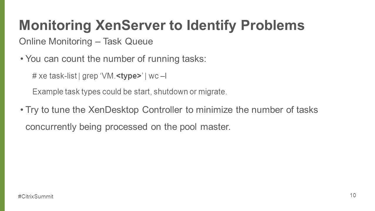 Monitoring XenServer to Identify Problems
