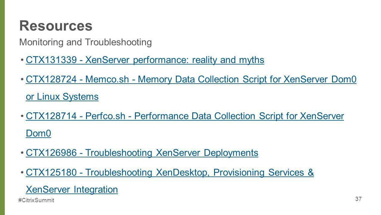 Resources Monitoring and Troubleshooting
