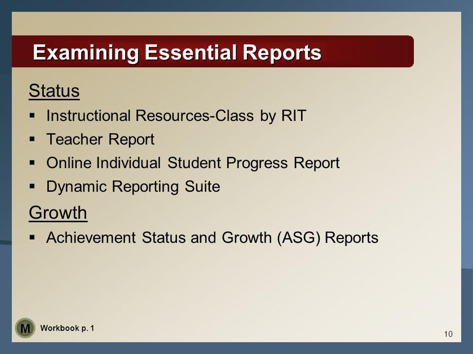 Examining Essential Reports