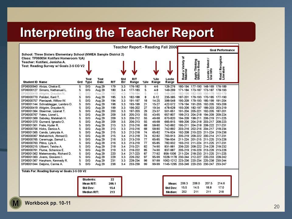 Interpreting the Teacher Report