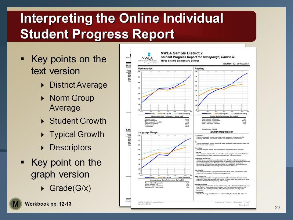 Interpreting the Online Individual Student Progress Report