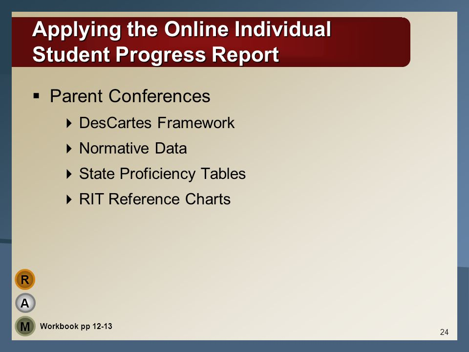 Applying the Online Individual Student Progress Report