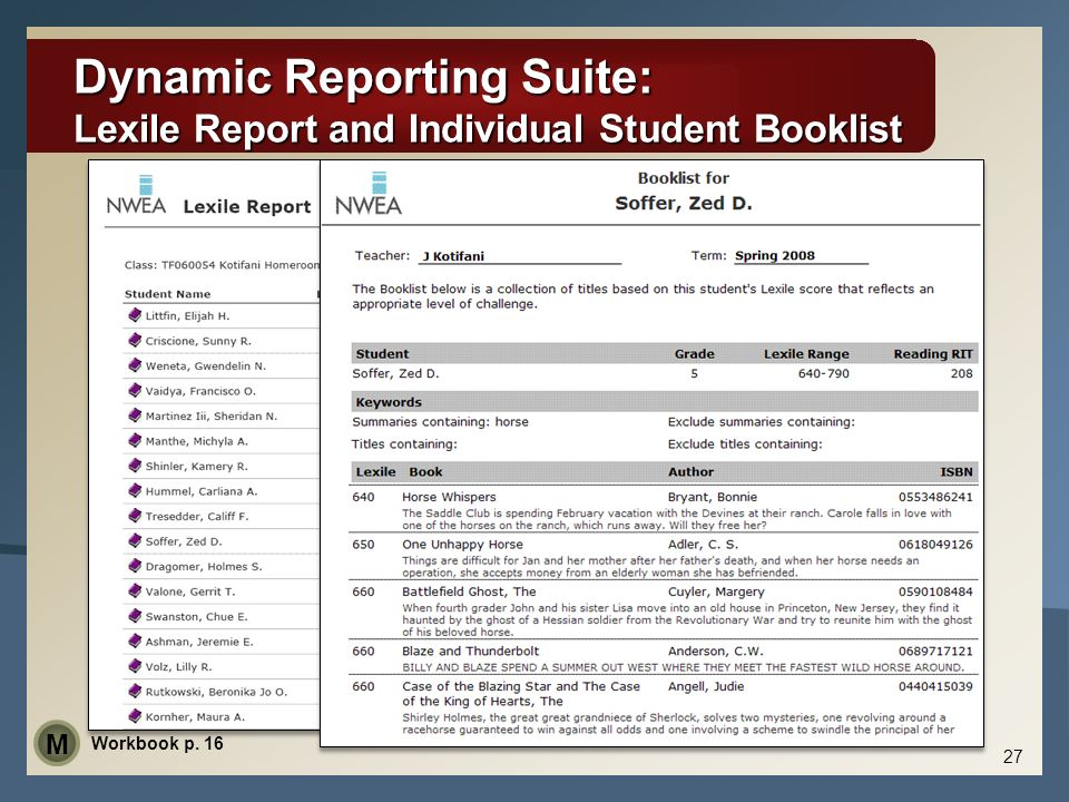 Dynamic Reporting Suite: Lexile Report and Individual Student Booklist