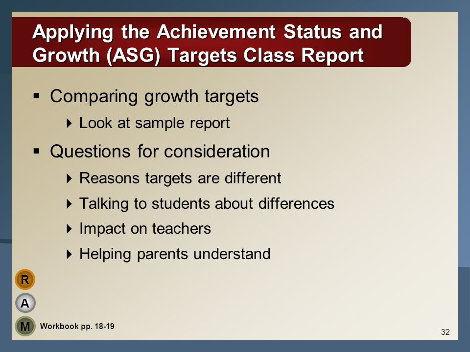 Applying the Achievement Status and Growth (ASG) Targets Class Report